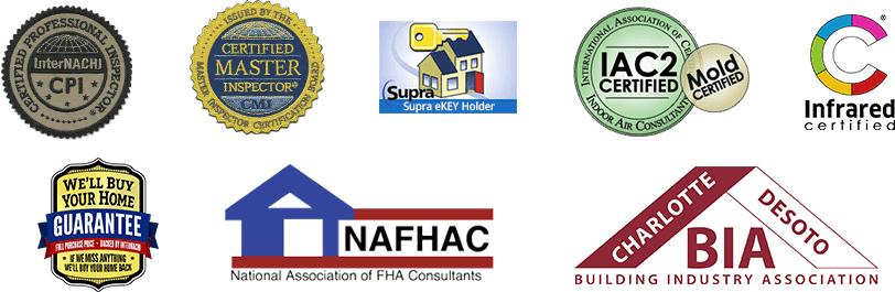 Home Inspector Certification Logos incl InterNachi, NAFHAC, Certified Master Inspector
