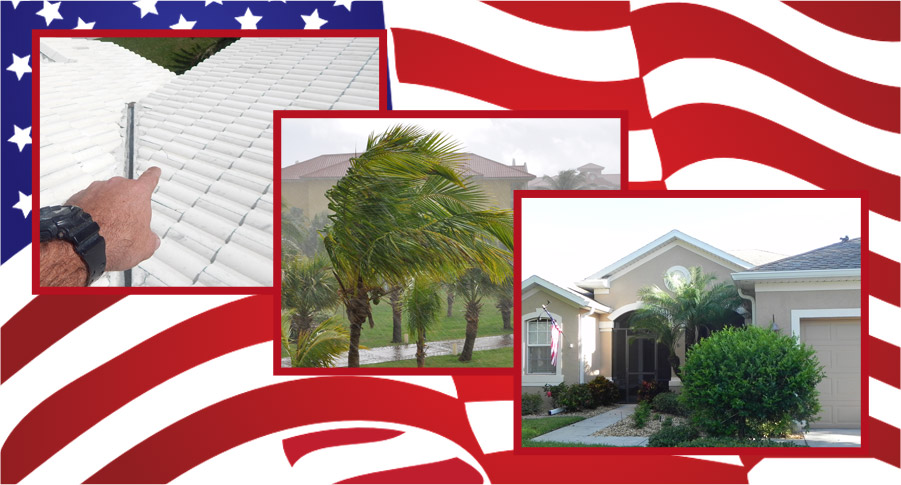 Collage of home inspections with an American flag in the background